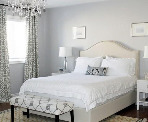 серо-бежевый интерьер спальни