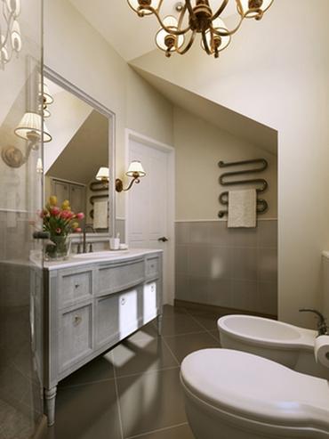 сочетание бежевого и серого в ванной
