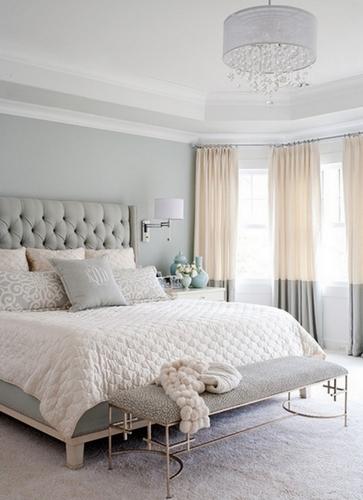 сочетание серого и бежевого в спальне