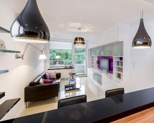 кожаный диван в современной кухне-гостиной