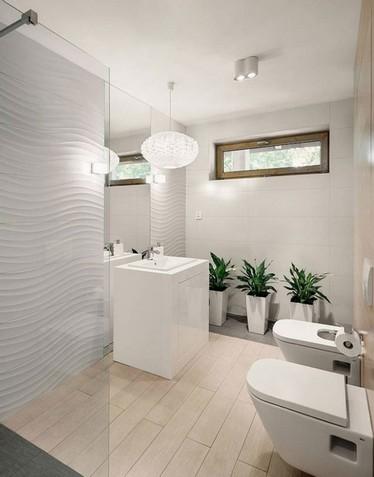 белая фактурная плитка в интерьере ванной комнаты