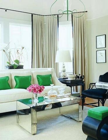 зеленые акценты в гостиной
