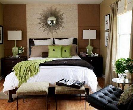 зеленые акценты в спальне
