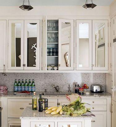 зеркальные фасады на кухне