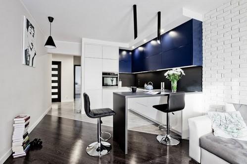 синие фасады в интерьере кухни