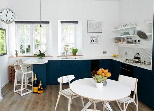 синяя кухня и цвет стен