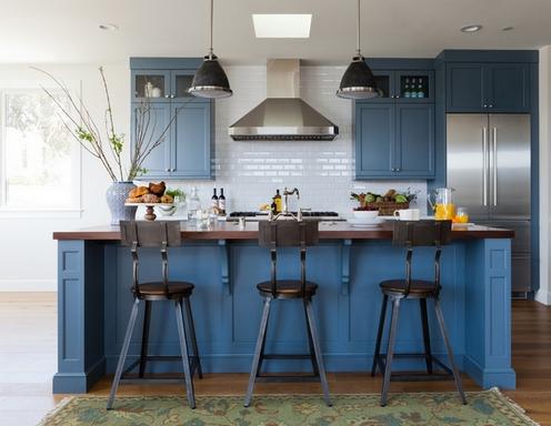 фартук для синей кухни