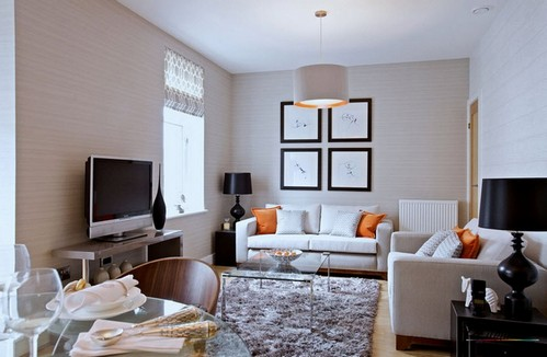 сочетание разной мебели в гостиной
