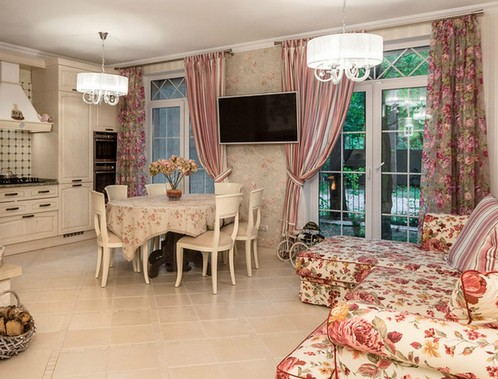 шторы с розочками в стиле прованс