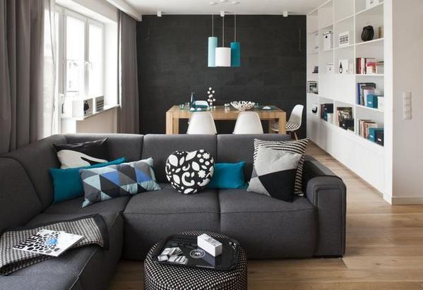диван поперек гостиной