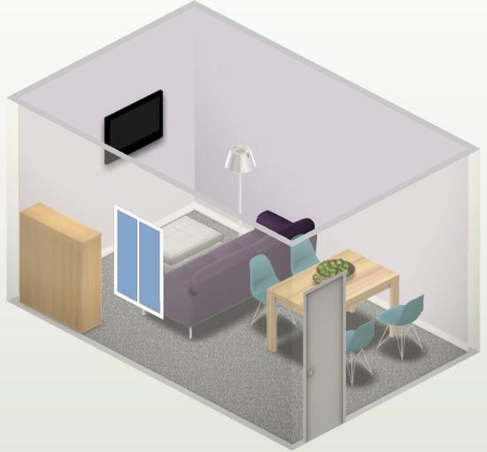 диван поперек комнаты