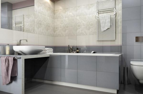сочетание с серой плиткой в ванной