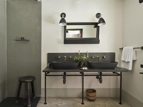 индустриальный интерьер ванной