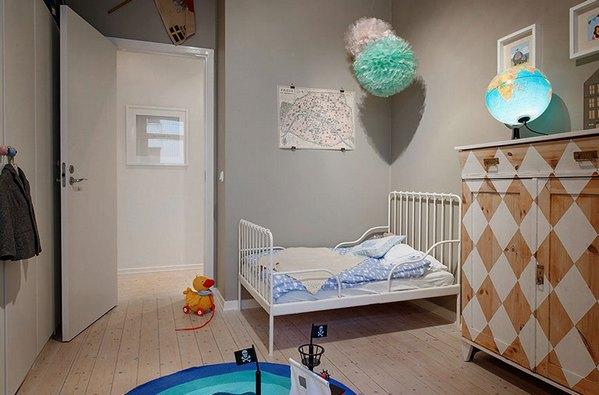 скандинавский интерьер детской комнаты