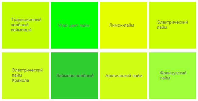 оттенки цвета лайм
