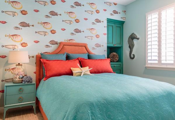 спальня в бирюзовом цвете