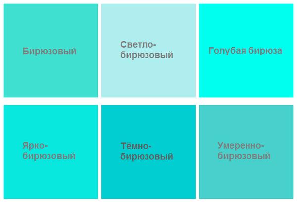 Бирюзовый цвет это зеленый и голубой