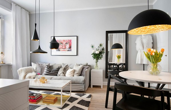 черно-белый коврик в гостиной