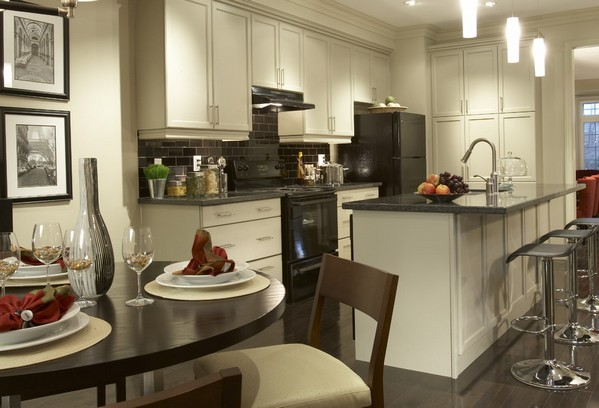 черная бытовая техника на кухне