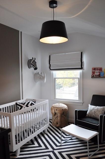 черно-белые шторы в интеьере