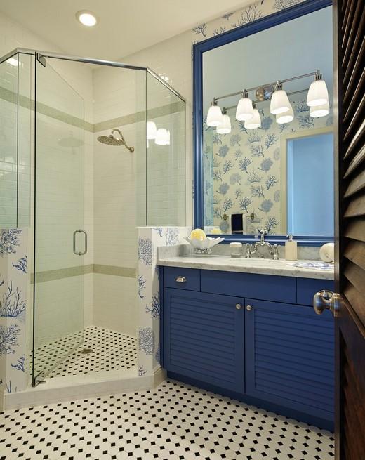 синяя тумба под раковину в ванной