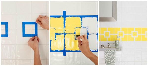 Краска по плитке в ванной