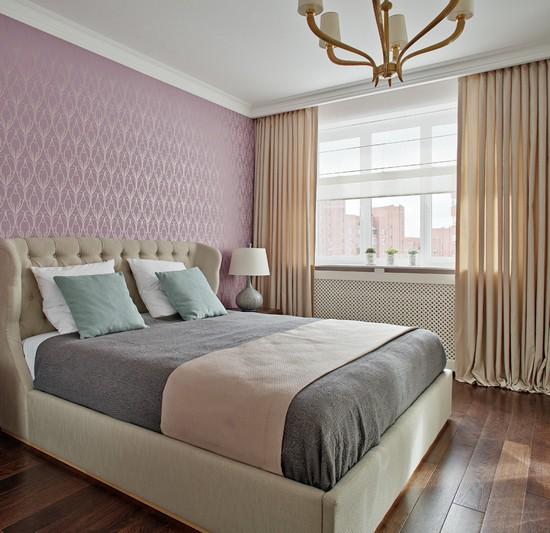 прозрачная римская занавеска в спальне