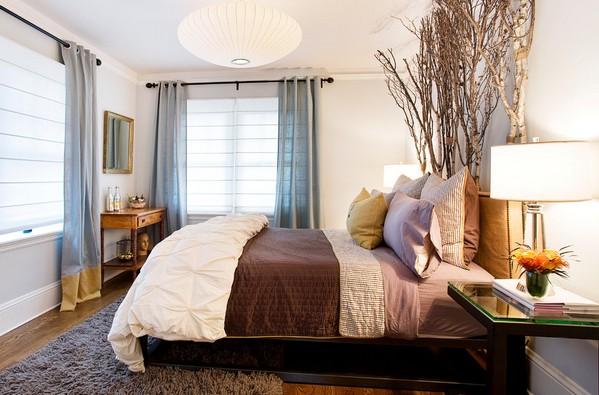 позрачные римские шторы в спальне