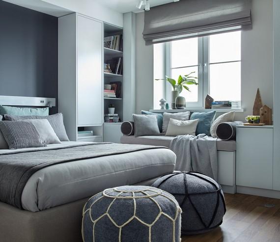 короткая римская штора в спальне