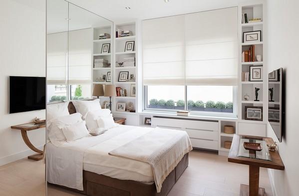белая римская штора в спальне