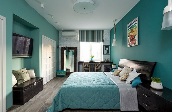 римская занавеска в спальне