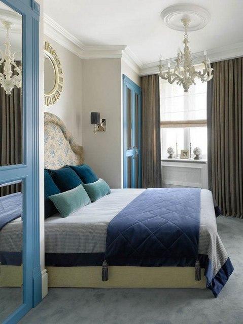 римская шторка в спальне