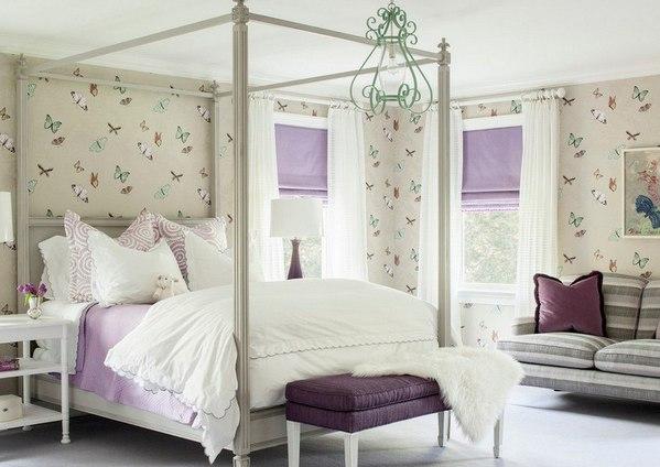 римские занавески в спальне