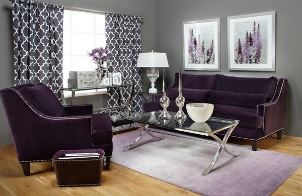 гармоничные сочетания с фиолетовым в интерьере
