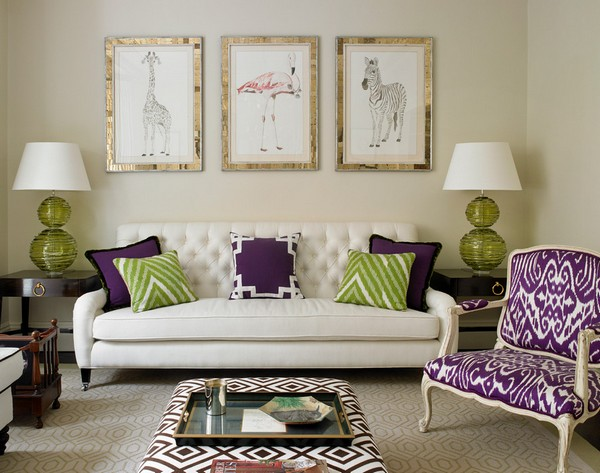 сочетание фиолетового в интерьере