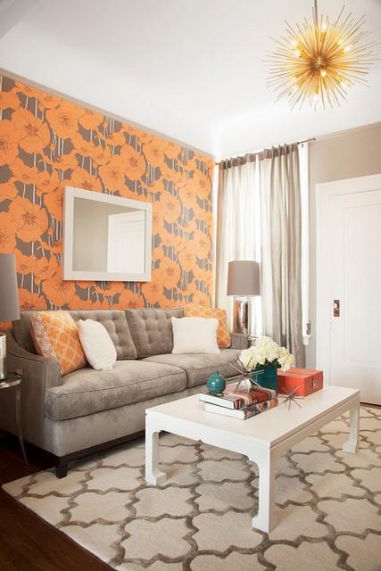 цветочные обои в интерьере гостиной