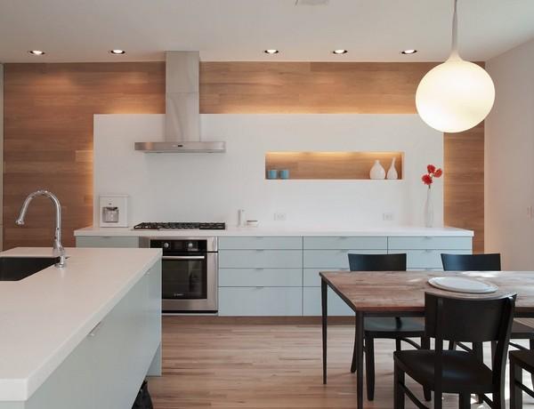 серо-голубые фасады на кухне