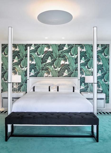 обои с пальмовыми листьями в интерьере