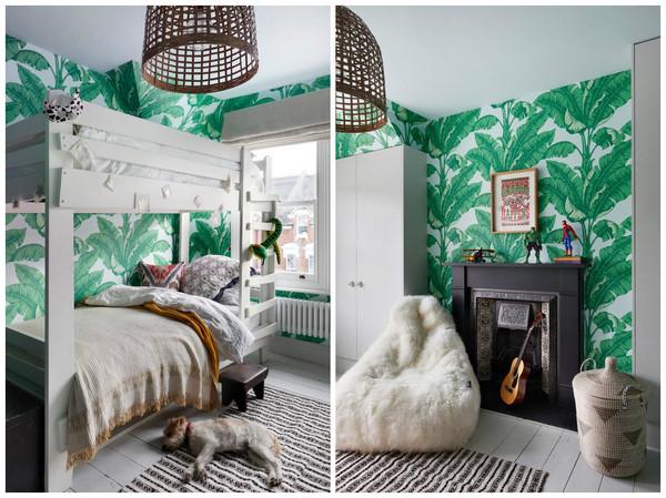 зеленые обои с крупными листьями