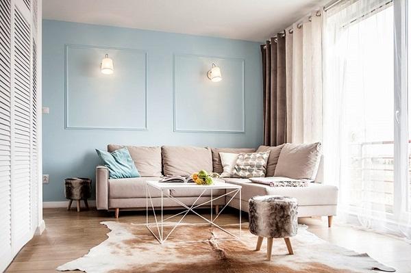 сочетания с голубым в гостиной