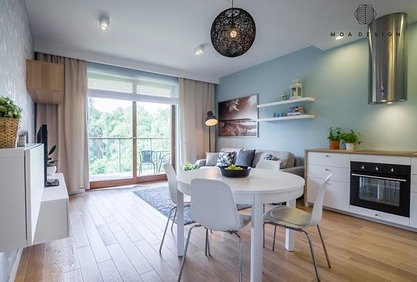 голубые стены в современной гостиной