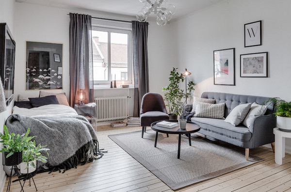 Как поставить диван и кровать в одной комнате?