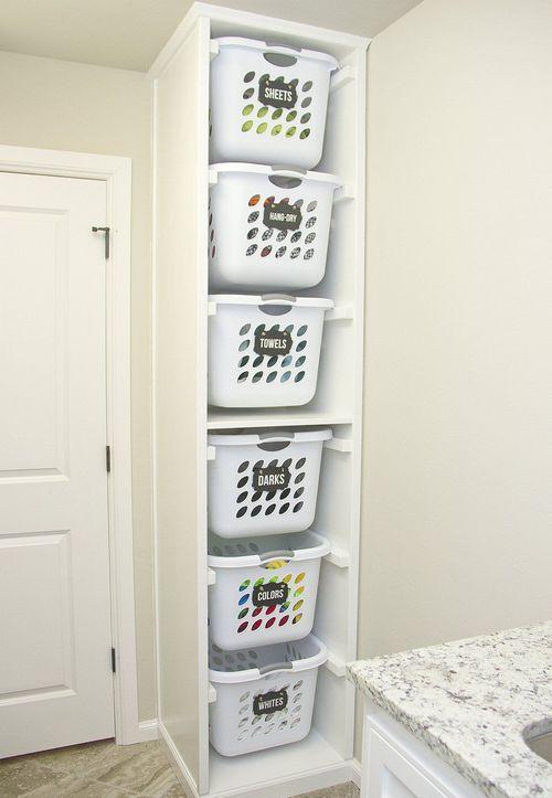 корзины для белья в ванной: идеи
