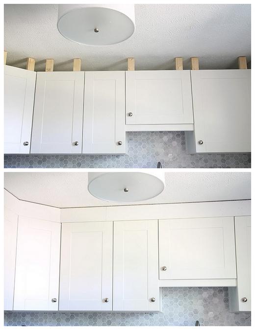как закрыть пространство между кухонными шкафами и потолком