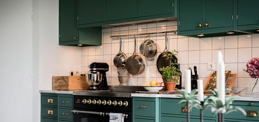 зелёная кухня в интерьере