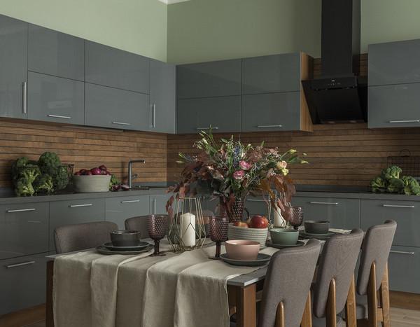 кухня: столешница и фасады одного цвета
