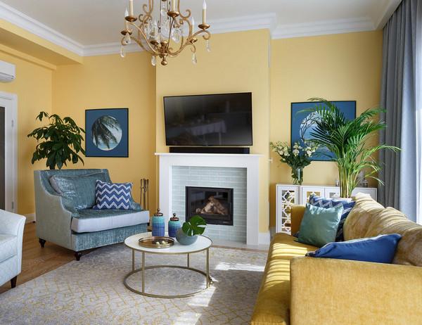 сочетание желтого с синим в интерьере