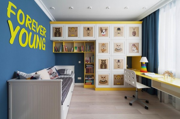 синий с желтым в детской