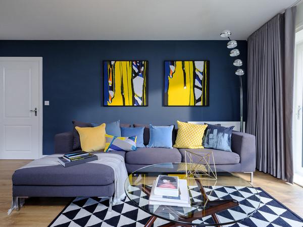 сине-желтый интерьер
