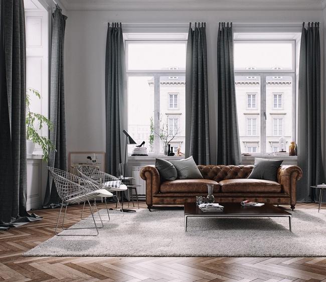 сочетание серого с коричневым в интерьере